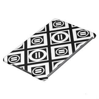 White Equal Sign Geometric Pattern on Black iPad Air Covers