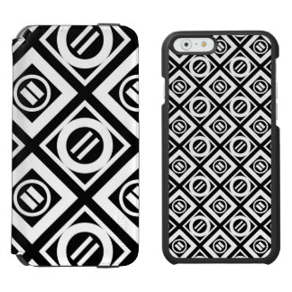 White Equal Sign Geometric Pattern on Black iPhone 6/6s Wallet Case