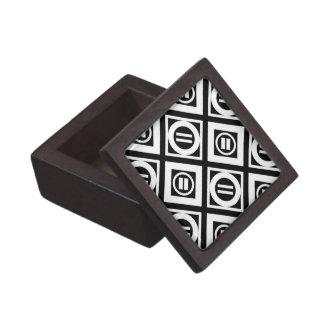 White Equal Sign Geometric Pattern on Black Jewelry Box