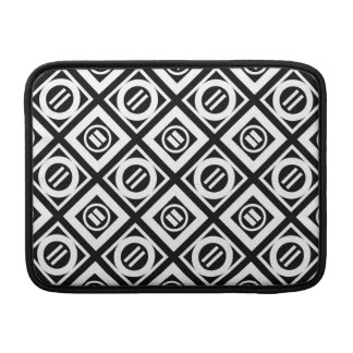 White Equal Sign Geometric Pattern on Black MacBook Air Sleeve