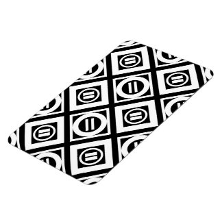 White Equal Sign Geometric Pattern on Black Magnet
