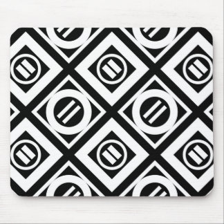 White Equal Sign Geometric Pattern on Black Mouse Pad