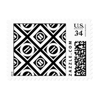 White Equal Sign Geometric Pattern on Black Postage