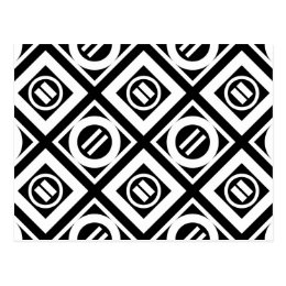 White Equal Sign Geometric Pattern on Black Postcard