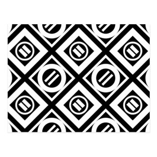 White Equal Sign Geometric Pattern on Black Postcard