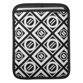 White Equal Sign Geometric Pattern on Black Sleeves For iPads