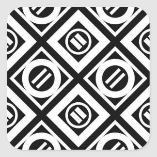 White Equal Sign Geometric Pattern on Black Square Sticker