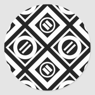 White Equal Sign Geometric Pattern on Black Classic Round Sticker