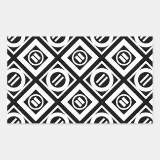 White Equal Sign Geometric Pattern on Black Rectangular Sticker