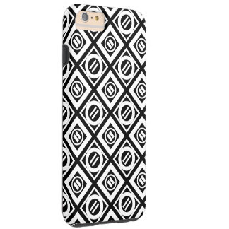 White Equal Sign Geometric Pattern on Black Tough iPhone 6 Plus Case