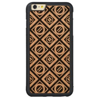 White Equal Sign Geometric Pattern on Black Carved® Cherry iPhone 6 Plus Bumper Case
