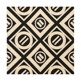White Equal Sign Geometric Pattern on Black Wood Print