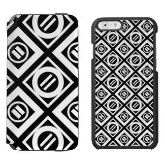White Equal Sign Geometric Pattern on Black Incipio Watson™ iPhone 6 Wallet Case
