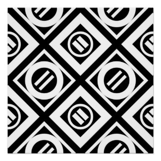 White Equal Sign Geometric Pattern on Black Perfect Poster
