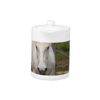 White Equine Teapot