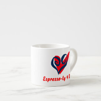 White espresso cup with a red heart and message