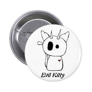 White Evil Kitty 2 Inch Round Button