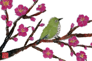 White Eye Plum Tree Bird Kitchen Towel