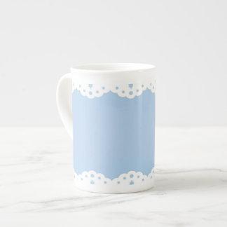 White Eyelet Lace on Blue Bone China Mug