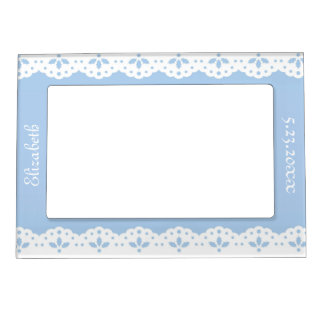White Eyelet Lace on Blue Personalized Magnetic Picture Frame