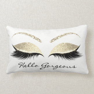 White Eyes Makeup Lash Hello Gorgeous Champaigne Lumbar Pillow