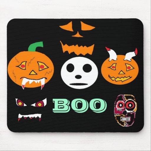 white face (2), moody pumpkin (2), crazy pumpki... mouse pad