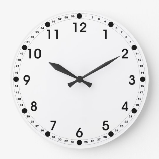 White Face Black Numbers Large Clock Zazzle Com