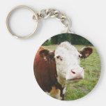 White Faced Beef Cow Basic Round Button Keychain