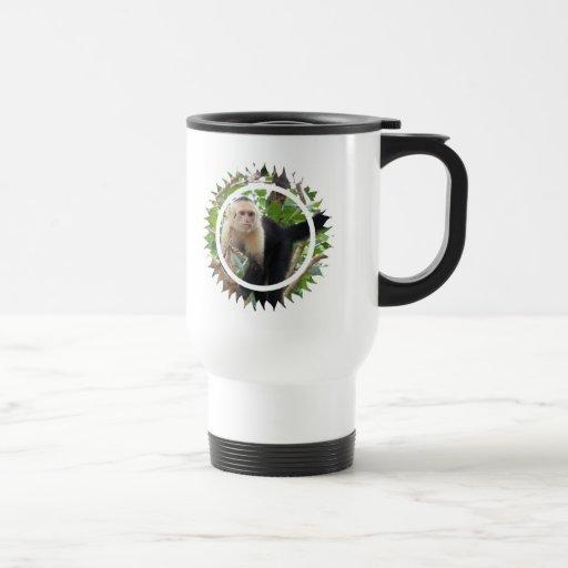 White Faced Capuccin Monkey  Plastic Travel Mug