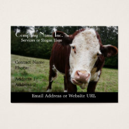White Faced Cow Sticking Out Tongue Business Card