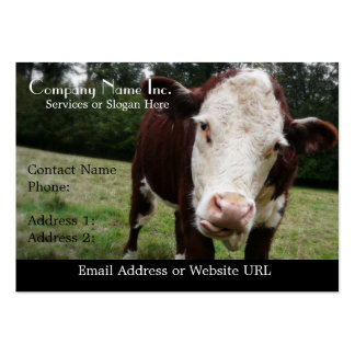 White Faced Cow Sticking Out Tongue Business Card Template