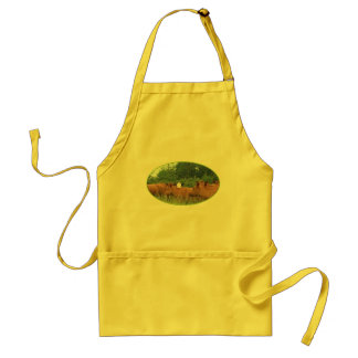 White Faced Cow with Red Cows Adult Apron