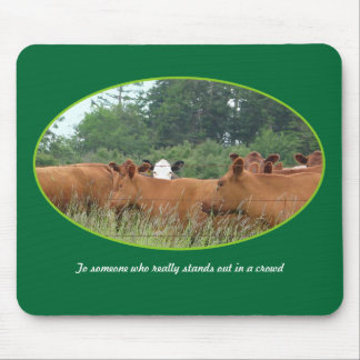 White Faced Cow with Red Cows Mouse Pad