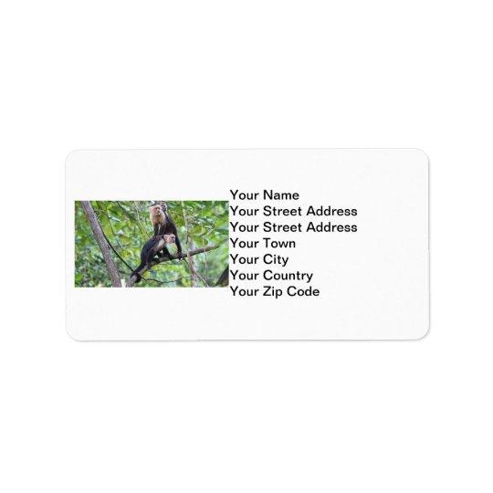 White-Faced Monkey Family Photo Label
