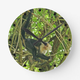 White Faced Monkey in Jungle Round Wallclock