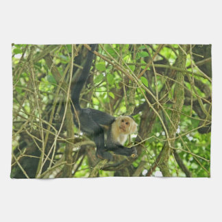 White Faced Monkey in Jungle Hand Towel