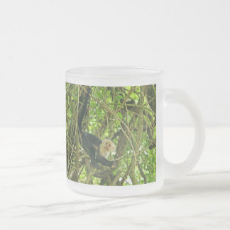 White Faced Monkey in Jungle 10 Oz Frosted Glass Coffee Mug