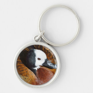 White faced Whistling Duck Silver-Colored Round Keychain