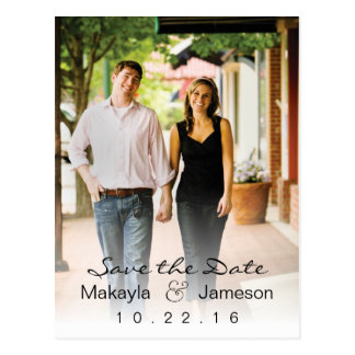 White Fade Photo Save the Date Postcard