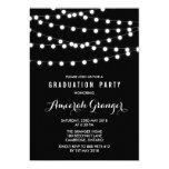 White Fairy Lights | Black Graduation Invitation