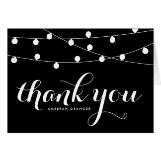 White Fairy Lights | Black Thank You Card