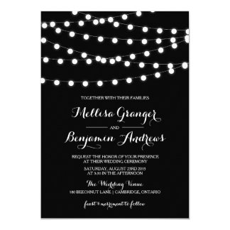 White Fairy Lights | Black Wedding Invitation