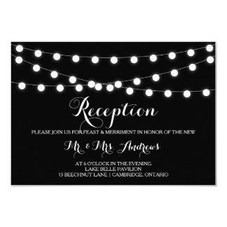 White Fairy Lights | Black Wedding Reception Card