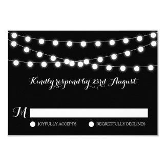 White Fairy Lights | Black Wedding RSVP Card