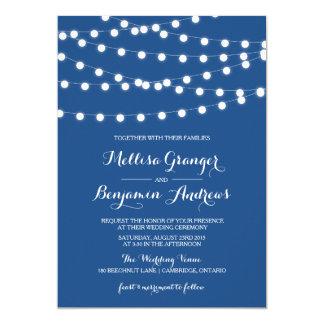 White Fairy Lights | Blue Wedding Invitation