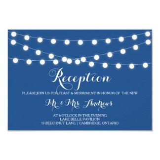 White Fairy Lights | Blue Wedding Reception Card
