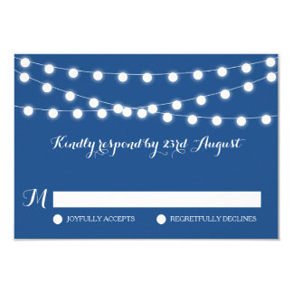 White Fairy Lights | Blue Wedding RSVP Card