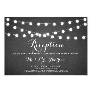 White Fairy Lights Chalkboard Reception Card