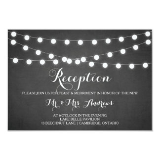 "White Fairy Lights Chalkboard Reception Card 3.5"" X 5"" Invitation Card"
