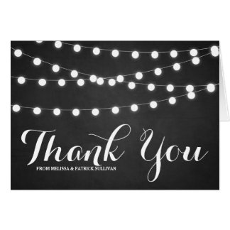 White Fairy Lights Chalkboard Thank You Card